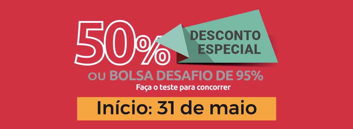 Banner divulgando promoção da Indicium Academy para você comprar o curso com 50% de desconto ou fazer o teste para concorrer à bolsa de 95%, e início das aulas em 31 de maio.