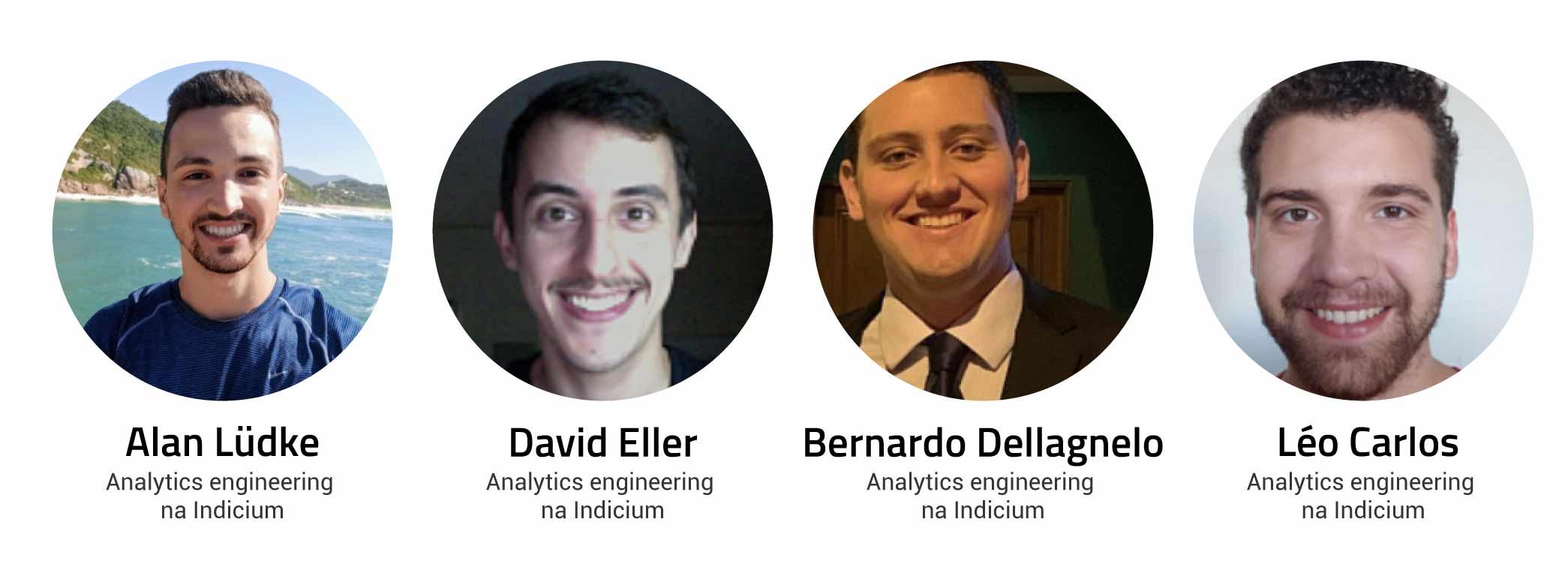 Fotos de quatro analytics engineers da Indicium, ex-alunos da Indicium Academy.