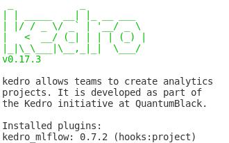 """Imagem demonstrando o retorno que o comando """"kedro info"""" mostra no sistema Kedro."""