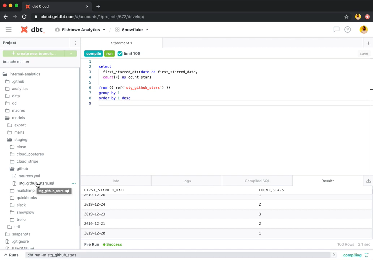 Exemplo tela da ferramenta dbt.